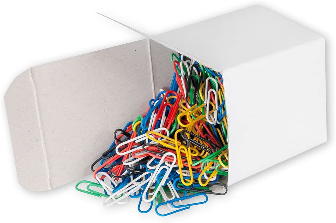Victory Office 661Plastic Coated Paper Clips 26mm Pack of 1000–Multi Colours