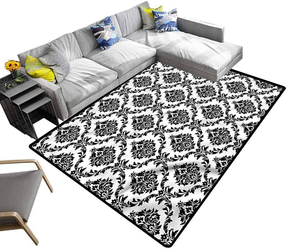 Damask, Home Decor Carpet Monochrome Color Flowers Baby Crawling Mat for Baby Nursery Decor, 5'x 7'