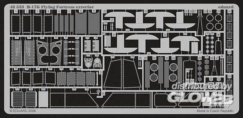 Eduard Accessories–48533Model-Making Accessory B 17g Flying Fortress Exterior for Revell/Monogram Kit