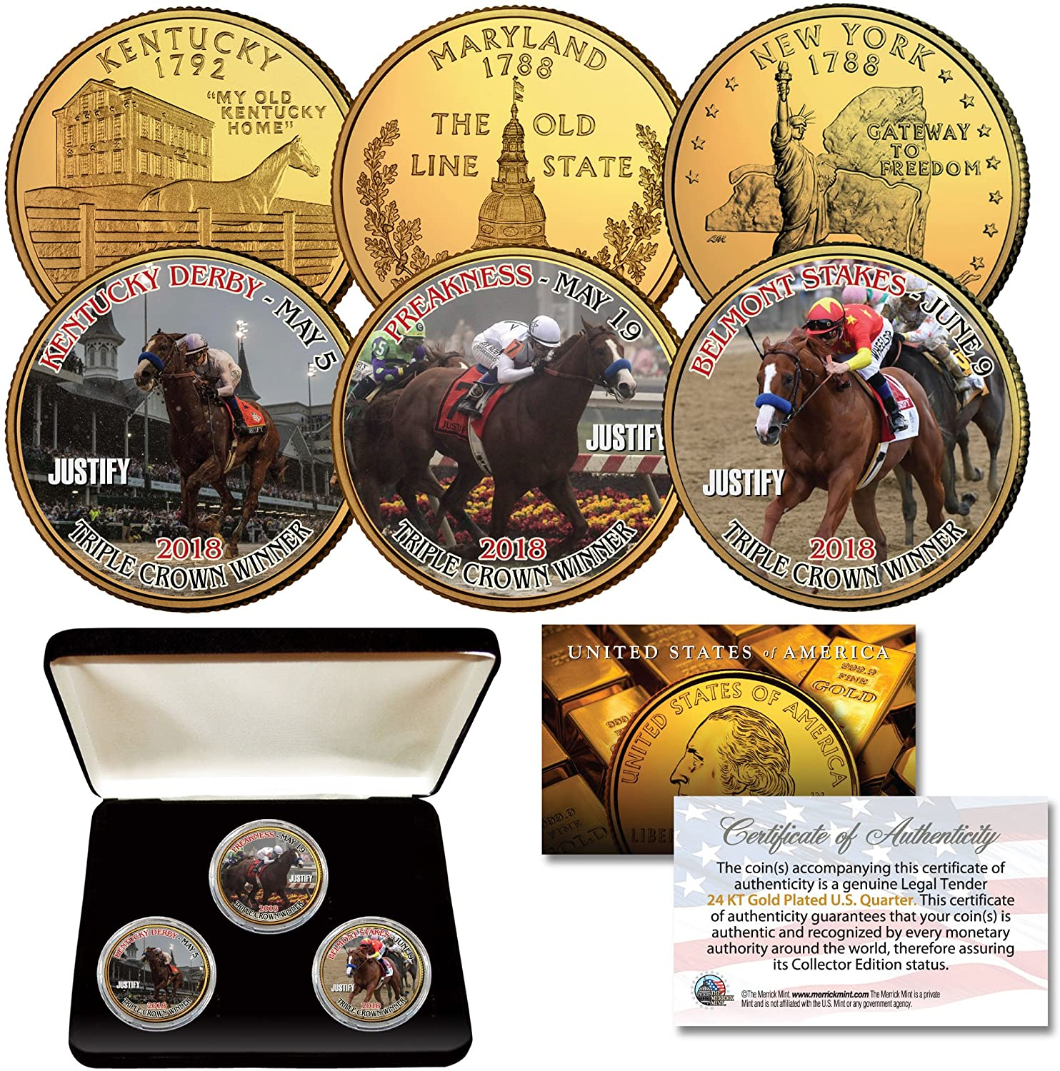 JUSTIFY Triple Crown Horse KY/MD/NY Quarters 24K Gold Clad 3-Coin Set w/BOX