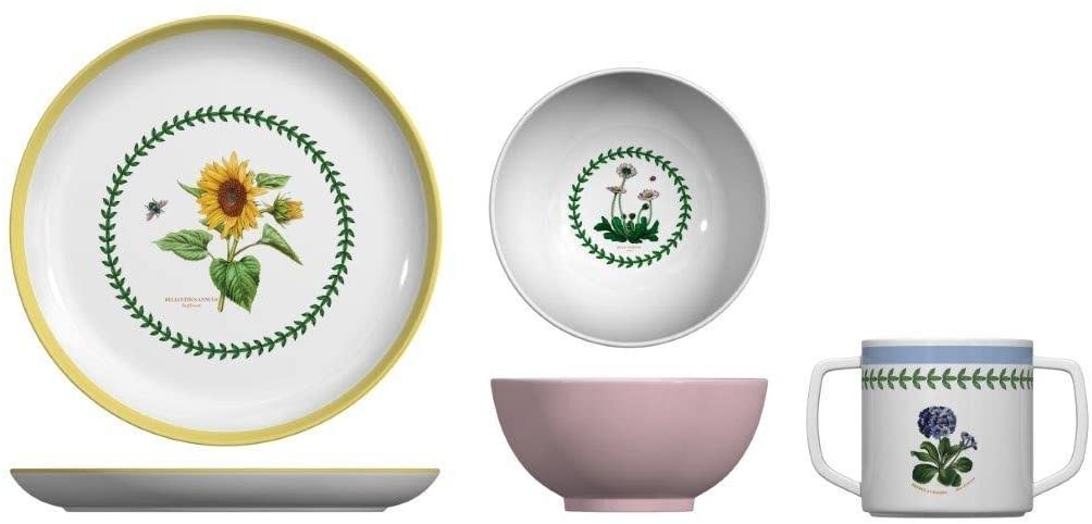 Portmeirion Botanic Garden 3-Piece Childrens Melamine Set, White