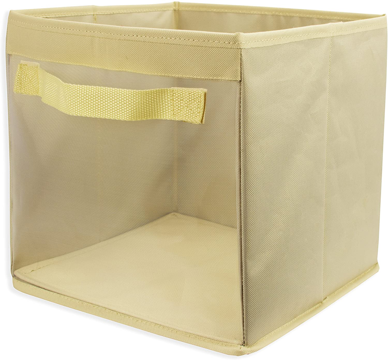 EASYVIEW Storage Cube with Clear View Mesh Window, 2-Handles All Woven Oxford Nylon Bin 10.5 x 10.5 x 10-Inches, Folds Flat (Off-White)