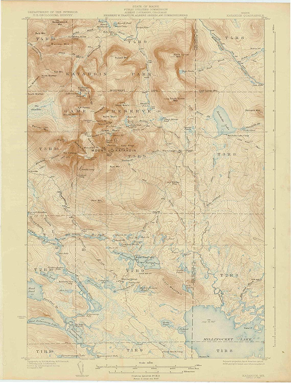 Map Print - Katahdin, Maine (1930), 1:62500 Scale - 24