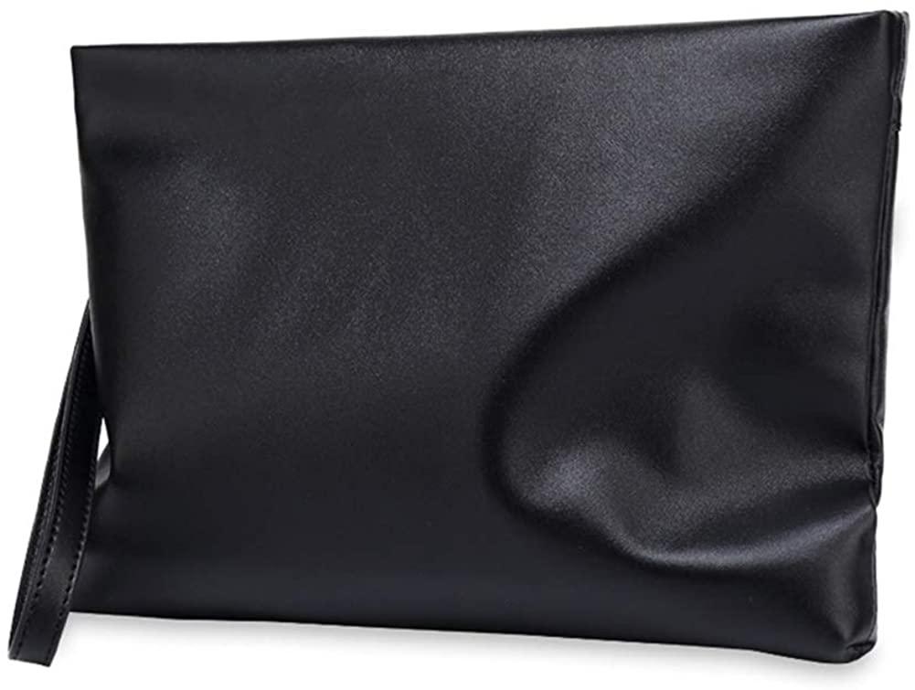 Men's Bag Genuine Leather Black Clutch Bag Cowhide Leather Business Handbag