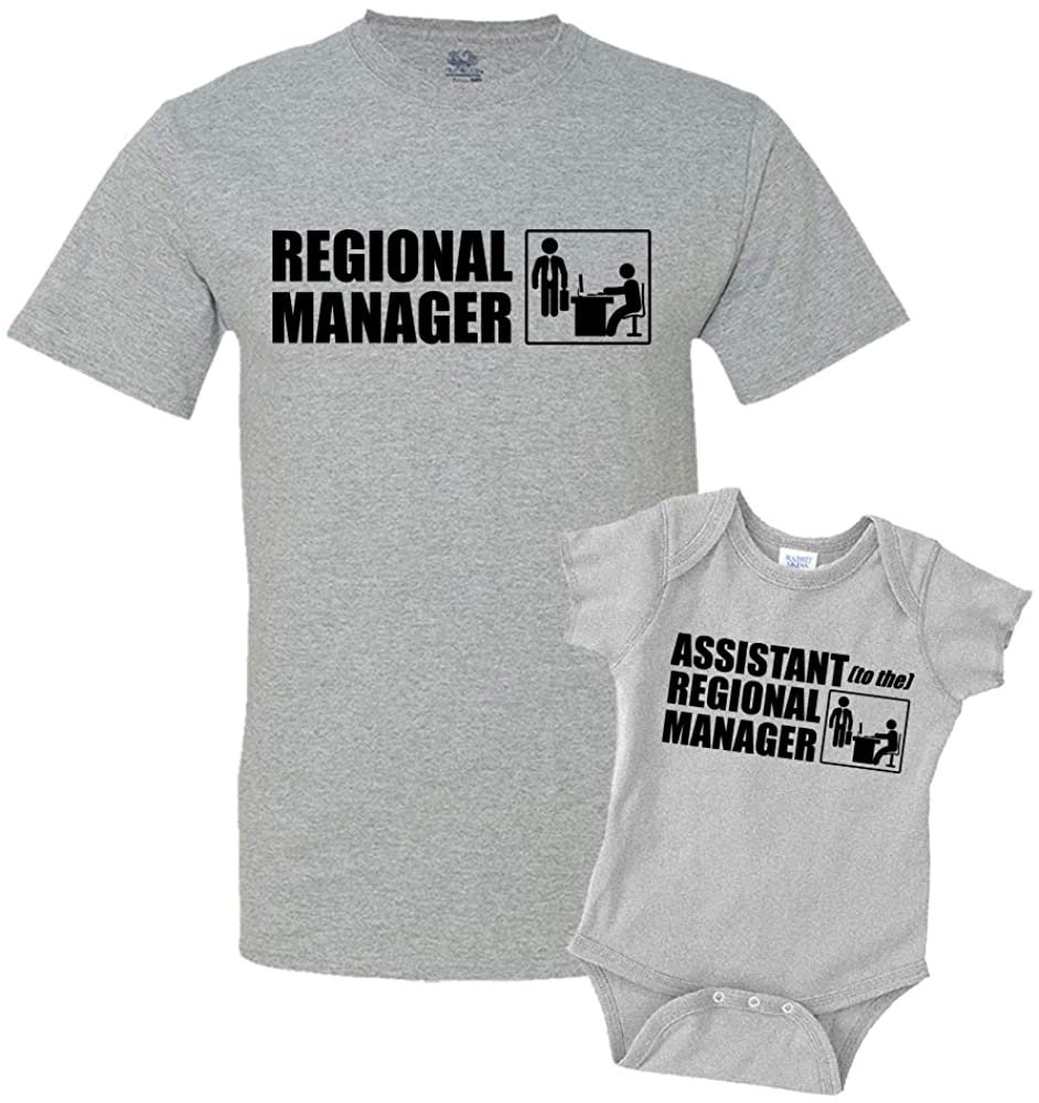 Regional Manager/Assistant Combo Matching Dad Baby Shirts or Bodysuit
