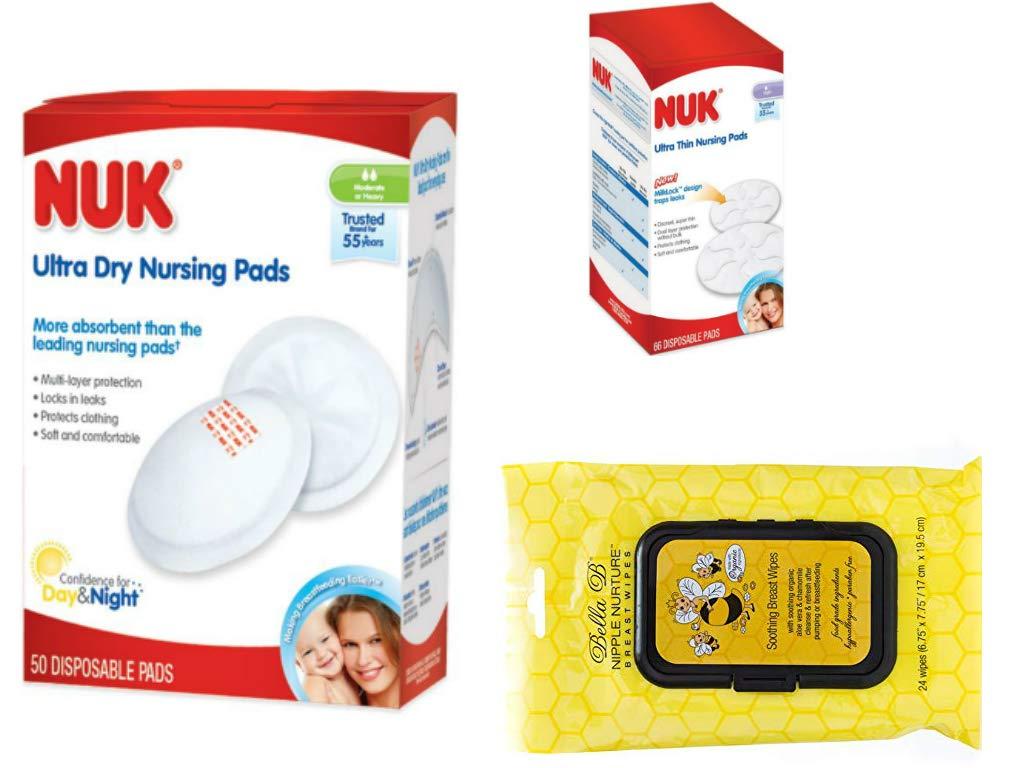 NUK Ultra-Dry 50-Count Disposable Nursing Pads + NUK Ultra-Thin 66-Count Disposable Nursing Pads + Bella B Nipple Nurture Breast Wipes Bundle of 3