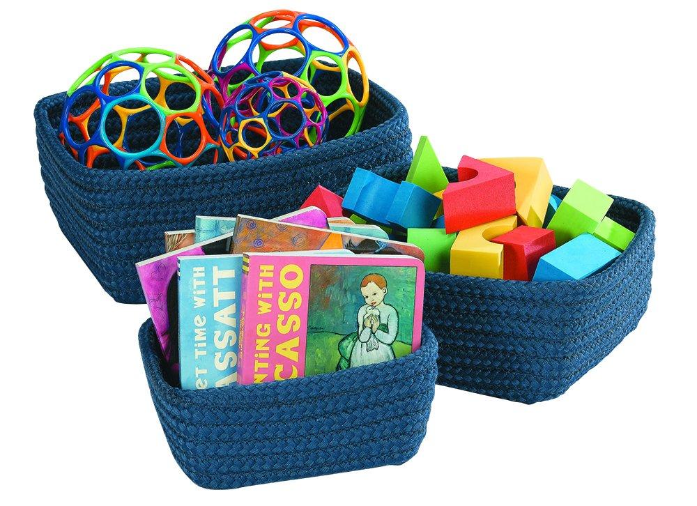 Becker's School Supplies Nesting Baskets, Blue, (Set of 3 Baskets)