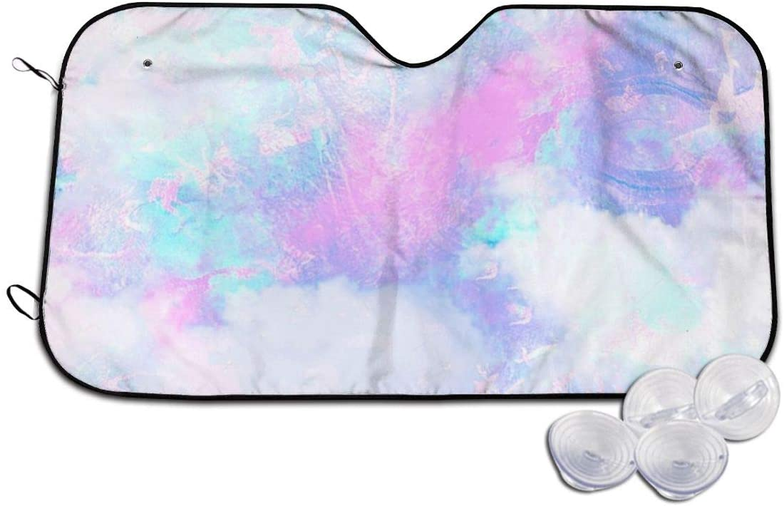 THONFIRE Car Windshield Sun Shade Cloud Pink Blue Fantasy Blocks UV Rays Keeps Your Vehicle Cool Visor Protector Automobile Front Window Heat Insulation
