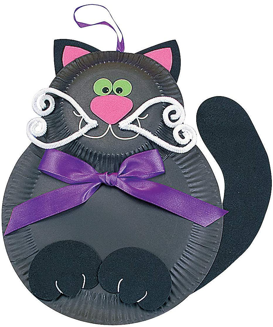 Black Cat Paper Plate Craft Kit - Crafts for Kids and Fun Home Activities