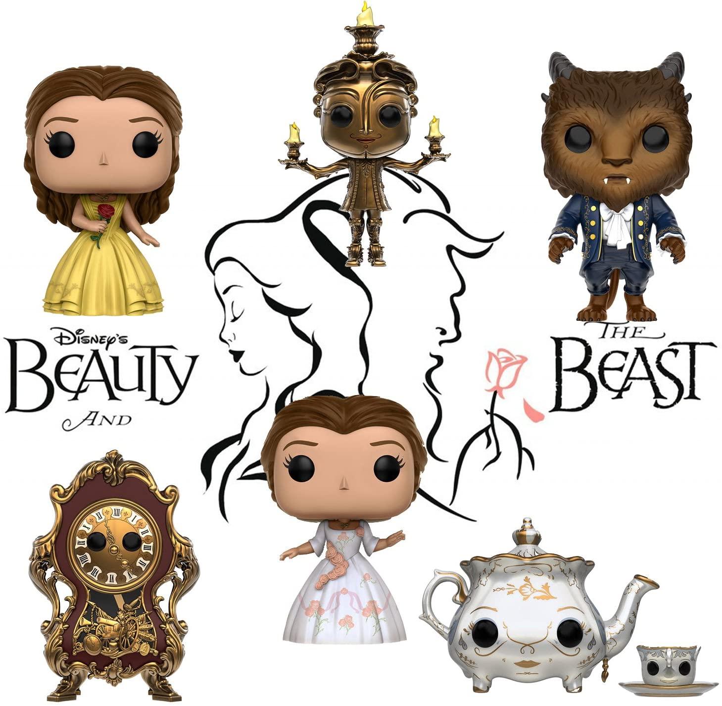 Pop! Disney: Beauty & the Beast Belle, Beast, Lumiere, Cogsworth, Mrs. Potts & Chip and Belle (celebration) Set of 6
