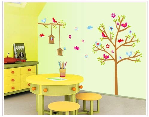 The Real Peel Premium Removable Wall Stickers for Kids Rooms, Nursery, Baby, Boys & Girls Bedroom - Peel & Stick, Large Removable Vinyl Wall Decal Stickers (Bird House)