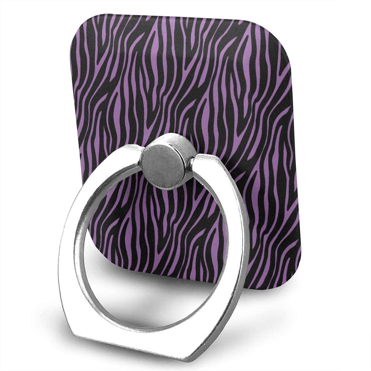 SLHFPX Cell Phone Ring Holder Stand Zebra Fur Skin Print Adjustable 360°Rotation Square Universal Finger Grip Loop Kickstand with Silver Metal Phone Holder for Women Kids Men Ladies Smartphones