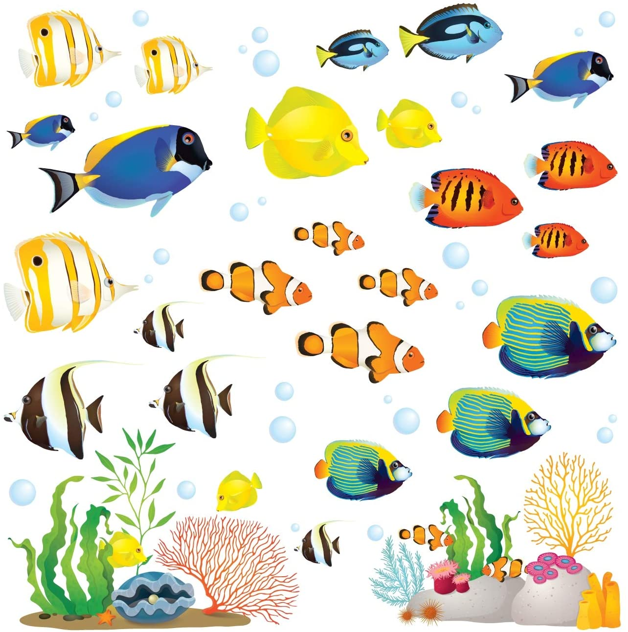 DECOWALL DS-8035 Coral Reef Fish Kids Wall Stickers Wall Decals Peel and Stick Removable Wall Stickers for Kids Nursery Bedroom Living Room (Small)