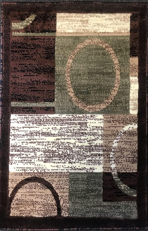 Modern Door Mat Area Rug Brown with Green Design #1497 (2ft.X3ft.)