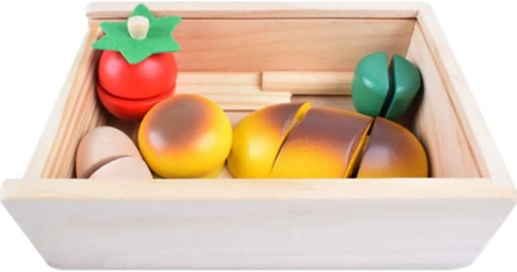 Wooden Block Fruit Vegetables Cutting Toy Kitchen Early Development Educational Toys for Children Baby Gift