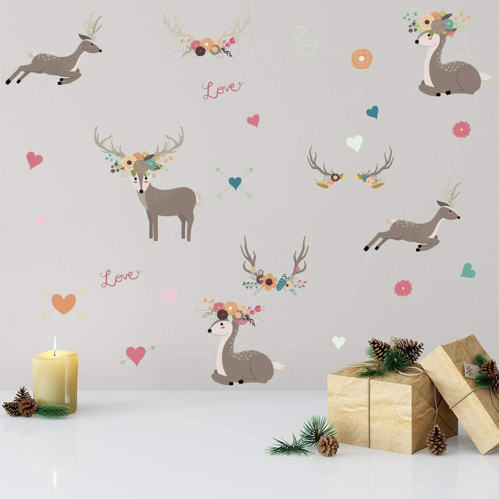 DIY Cartoon Christmas Moose Decor Wall Stickers Nordic Style Children's Room Bedroom Kindergarten Background Layout Home Decoration Stickers A5(5.8x8.2inch)x 12sheets (Christmas Moose 129)