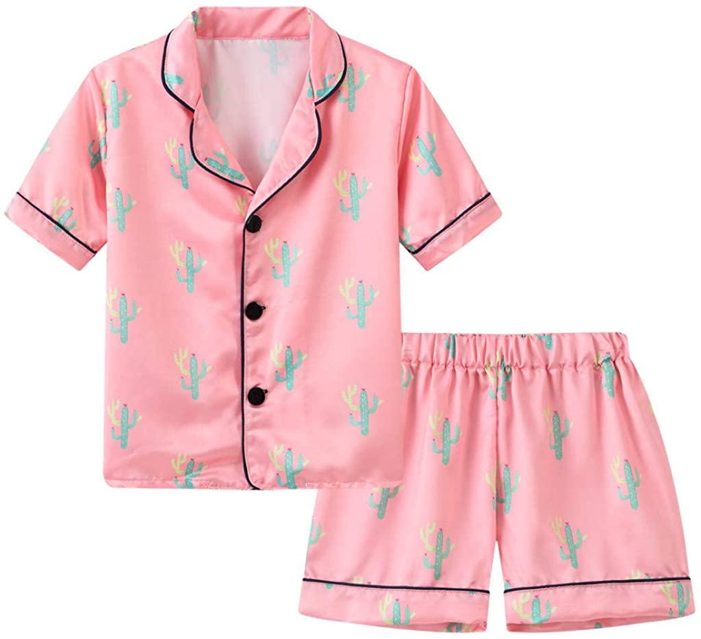 Kehen- Toddler Baby Boy Girl Satin Pajamas Set Dinosaur Summer Print Outfit 2PC Short Sleeve Button-Down Sleepwear