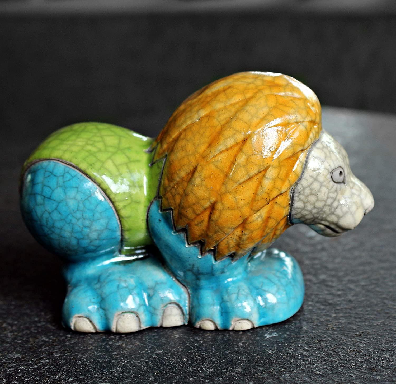 Finely Crafted Raku Ceramic Lion Showpiece