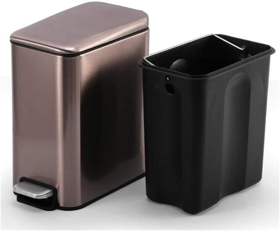 JRMU Stainless Steel Rectangular Kitchen Waste Bin, 5 Liter, Pedal Trash Can Lid Removable Inner Wastebasket for Kitchen Bedroom Living Room-Rose Gold