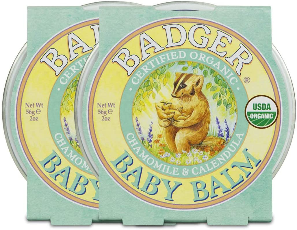 Badger - Baby Balm, Chamomile & Calendula, Certified Organic Baby Balm, Cradle Cap Balm for Babies, Baby Rash Balm, Baby Skin Care, 2 oz (2 Pack)
