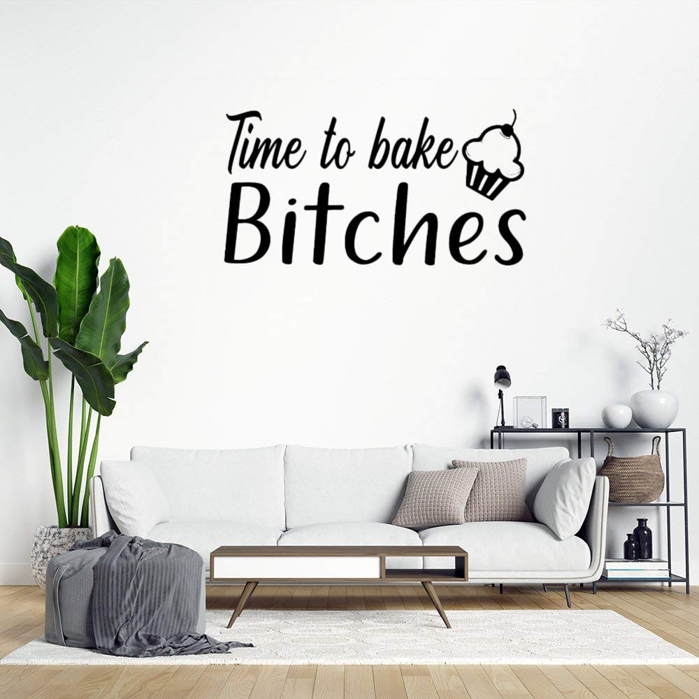 Time to Bake Bitches with Cupcake Wall Sticker,Funny Quote Saying Wall Decal Saying Family Room,Wall Art Decor for Boys Room Kids Bedroom Living Room
