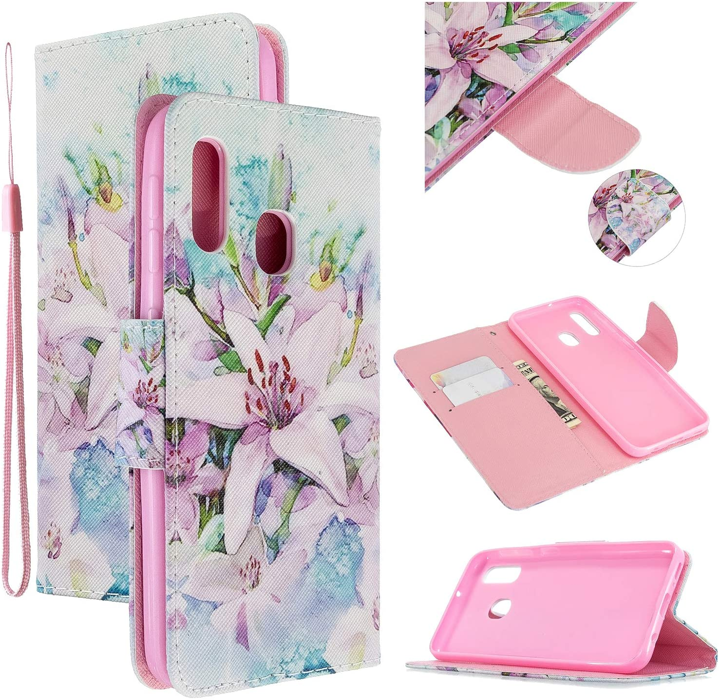 EnjoyCase Colorful Flip Case for Samsung Galaxy A20S,Lily Flower Painted Pu Leather Bookstyle Magnetic Closure Wrist Strap Wallet Case Cover with Stand Function