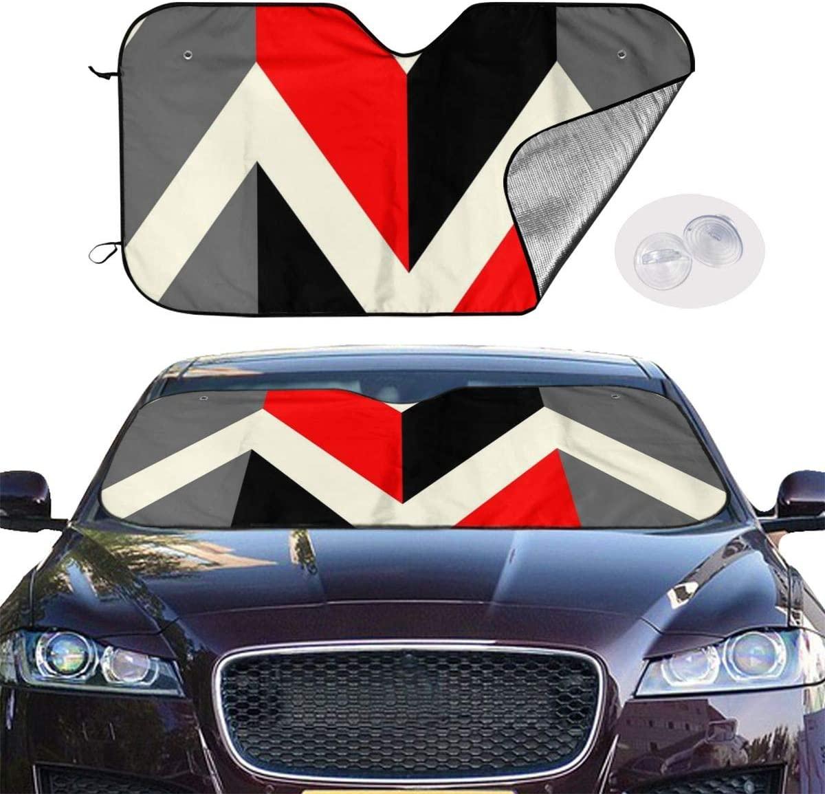THONFIRE Car Windshield Sunshade Red Black Gray Lines Blocks UV Rays Keeps Your Vehicle Cool Visor Protector Automobile Front Window Heatshield