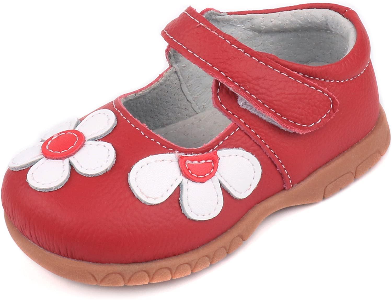 Femizee Girls Leather Bows Design Soft Round Toe Princess Dress Mary Jane Flat Shoes(Toddler/Little Kid)