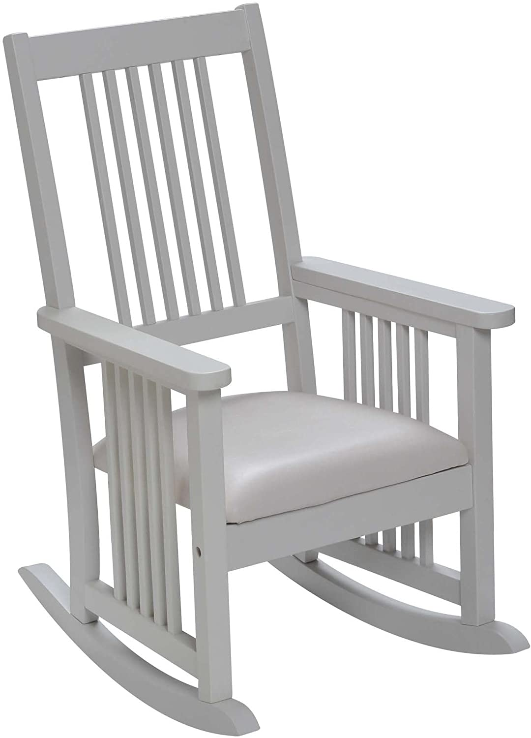 Giftmark Mission Style Kids Rocking Chair with Upholstered Seat, Style D, White