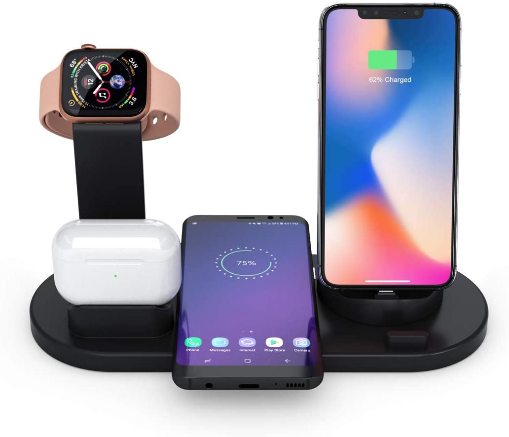 2020 Upgrade Wireless Charger Dock,Fast Wireless Charging Station, Universal 4 in 1 Charging Device for iPhone/Samsung, Airpods and Smartwatch