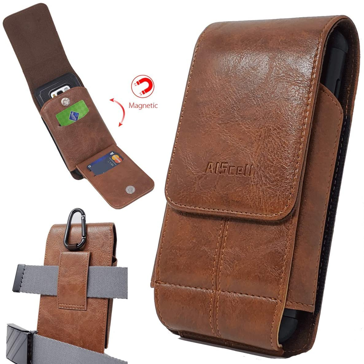 AISCELL Wallet Case Vertical Brown Leather Sleeve Flip Pouch Belt Waist Holster with Carabiner for iPhone 11, 11 Pro Max,XS Max,XR, 8 Plus, 7 Plus, 6S Plus, Already with Protective Hybrid Cover on