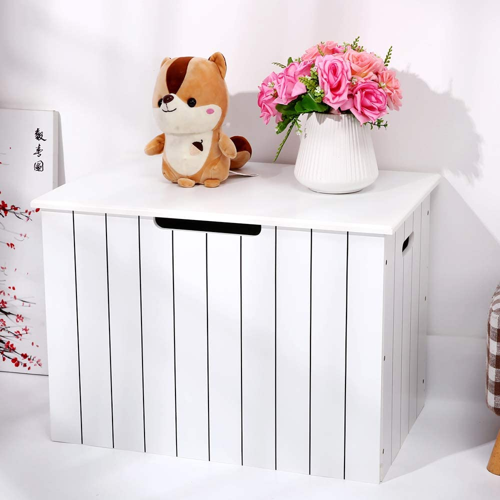 YBYT Toy Box Chest with Safety Hinge, Wooden Toy Box,storage chest for Dog Toys, Kids, Children Toys, Blanket, Clothes - Perfect for Playroom Living Room, bench Shelves (white)
