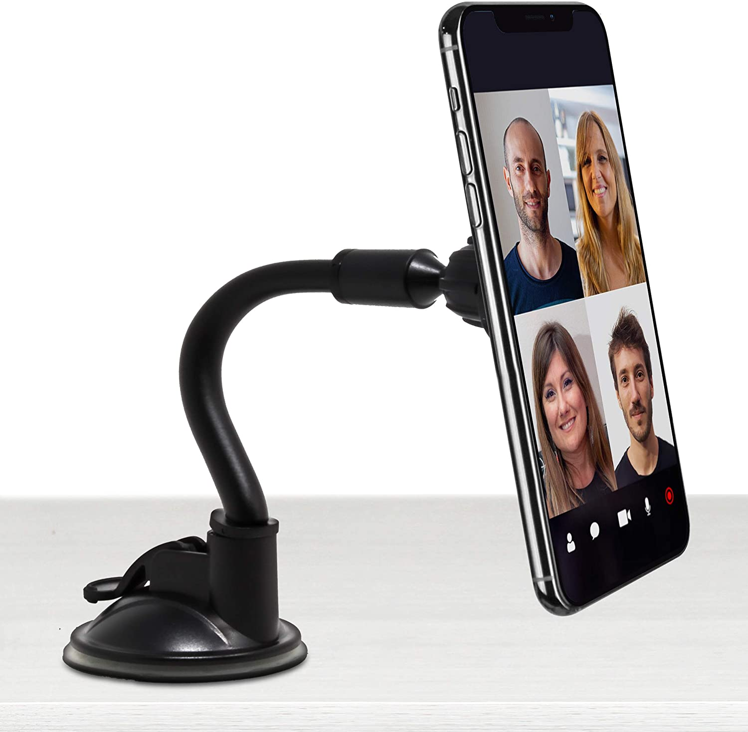 Aduro Magnetic Phone Stand for Desk, Cell Phone Stand for iPhone, Holder Gooseneck and Car Dashboard Mount with Suction Cup