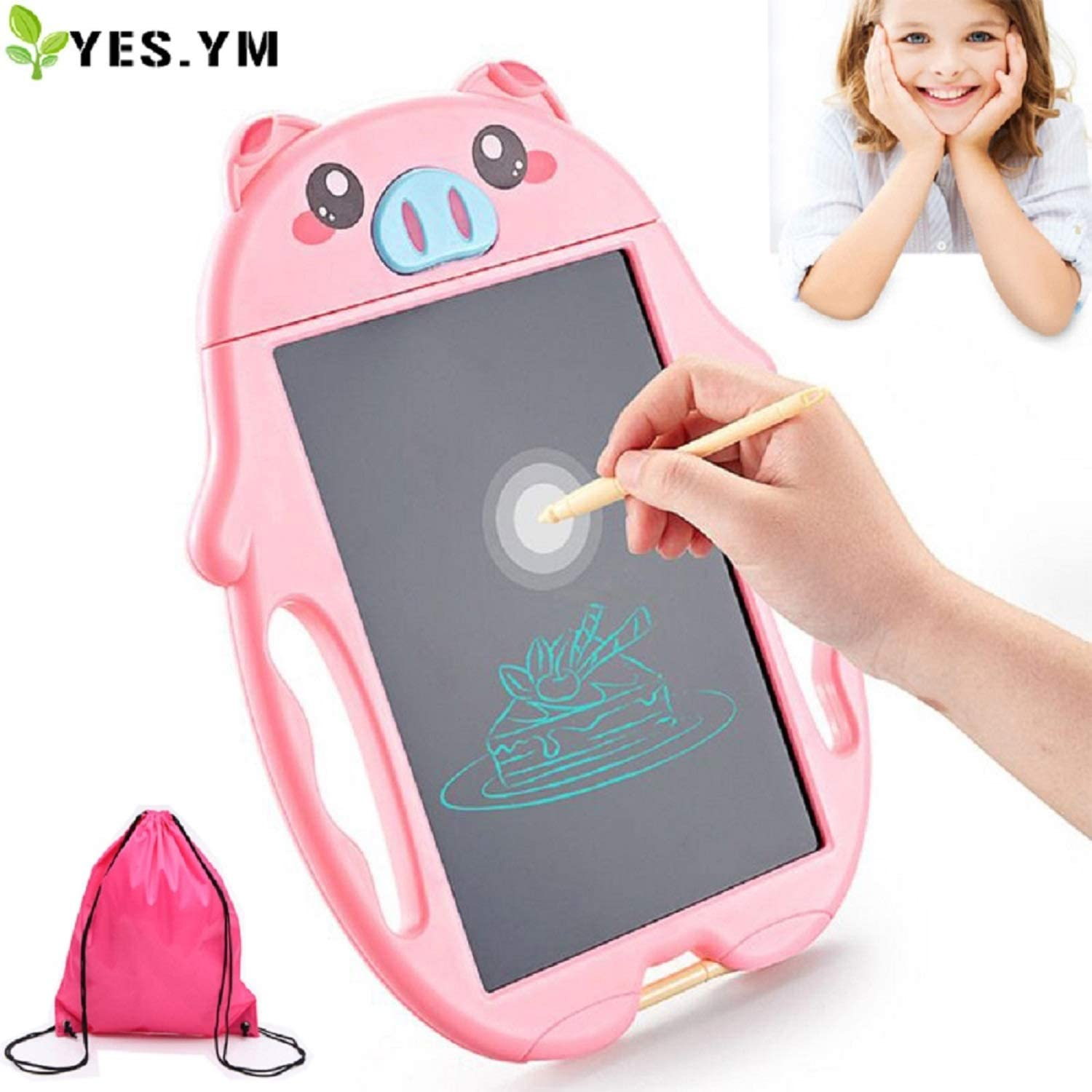 YES.YM LCD Doodle Board for 3-6 Year Old Girls Gifts,Drawing Board for Little Girl Educational Birthday, Writing Tablet Doodle Board for Kids Toddlers as Girls Toys Age 3 -6 (Pink)