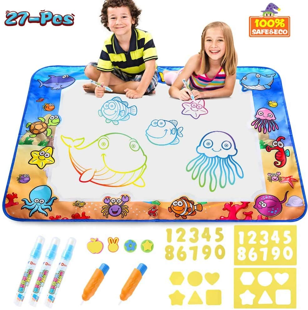 Aqua Magic Doodle Mat Kids Painting Writing Doodle Board Toys Mess Free Water Drawing Doodle Mat Large Size 40 X 28 inches Magic Pens Educational Toys for Boys Girls Toddlers Age 1 2 3 4 5 6year