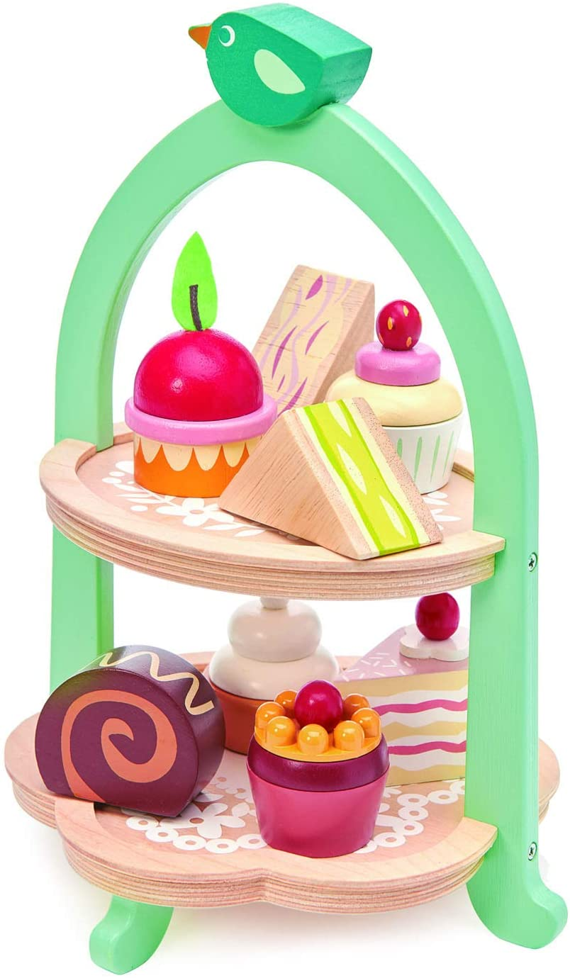 Tender Leaf Toys Mini Chef Birdie Afternoon Tea Stand – Realistic English Sandwich, Cake and Pastry Tower for Tea Party or Dessert Treats - Social, Creative, and Imaginative Role Play – Ages 3 years +
