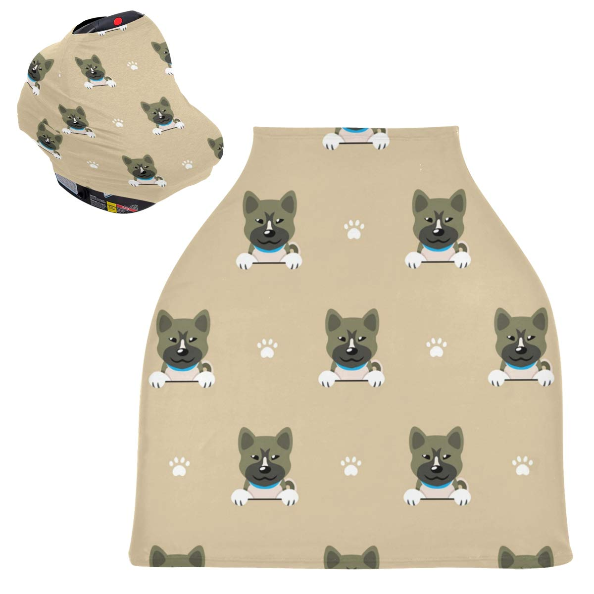 Stretchy Baby Car Seat Canopy - Character Akita Dog Infant Stroller Cover Multi Use Carseat Scarf Nursing Cover for Shopping Cart
