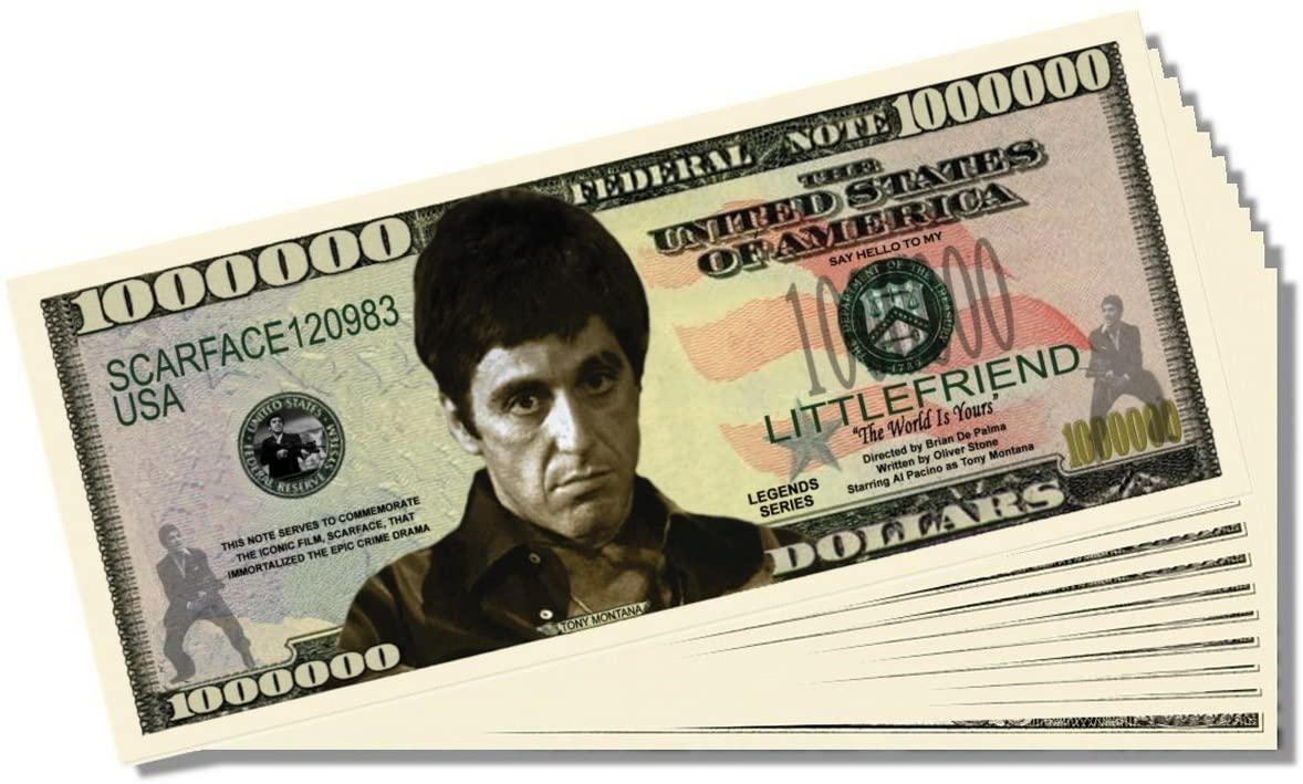 Scarface Novelty Million Dollar Bill - Set of 100 with 1 Bonus Christopher Columbus Bill