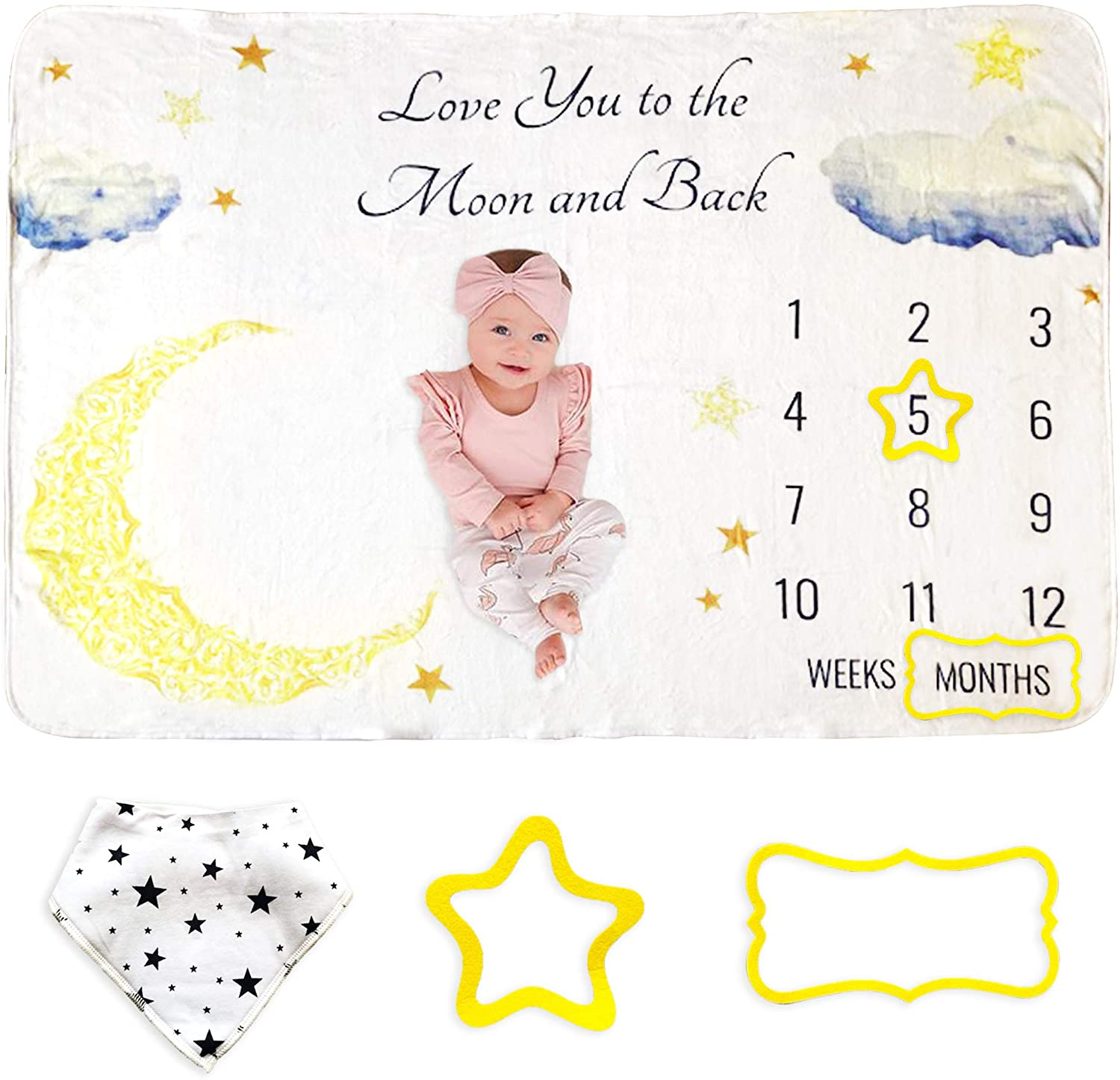 Baby Monthly Milestone Blanket | Baby Photo Blanket for Newborn Babies | Soft & Fluffy 60x40 inches | Monthly Blanket for Baby Pictures, Includes Bandana Drool Bib + 2 Frames