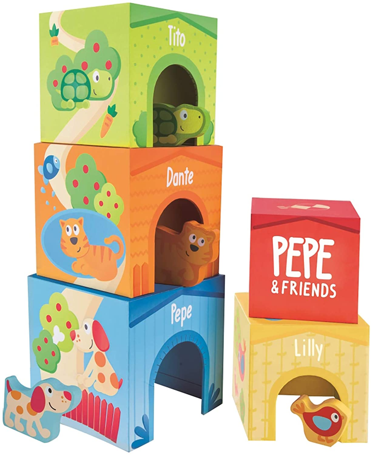 Hape Deluxe 9-Piece Playful Friends Nesting and Stacking Toy Blocks