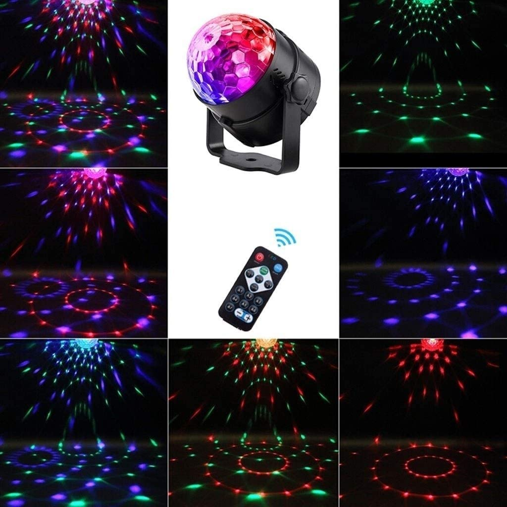 ZhanMa Stage Lights Magic Ball Stage Lights LED 11 Modes LED Stage Lights Sound Activated Rotating Disco Ball Party Lights YATYXUN-7.18