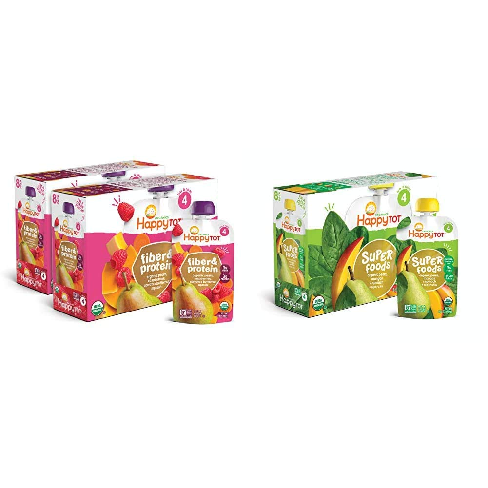 Happy Tot Organic Stage 4 Fiber & Protein, Pears/Raspberries/Butternut Squash/Carrots, 4 Ounce (Pack of 16) & Happy Tot Organic Stage 4 Super Foods, 4.22 Ounce Pouch (Pack of 16)