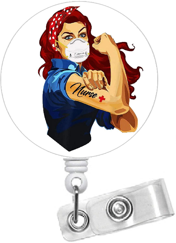 Rosie The Riveter Nurse Red Hair 1.5 - Nursing Badge Holder - Nurse Badge Reel - Name Badge - Nurses Badge - Cute Id Badge Reel (Alligator Swivel Clip)