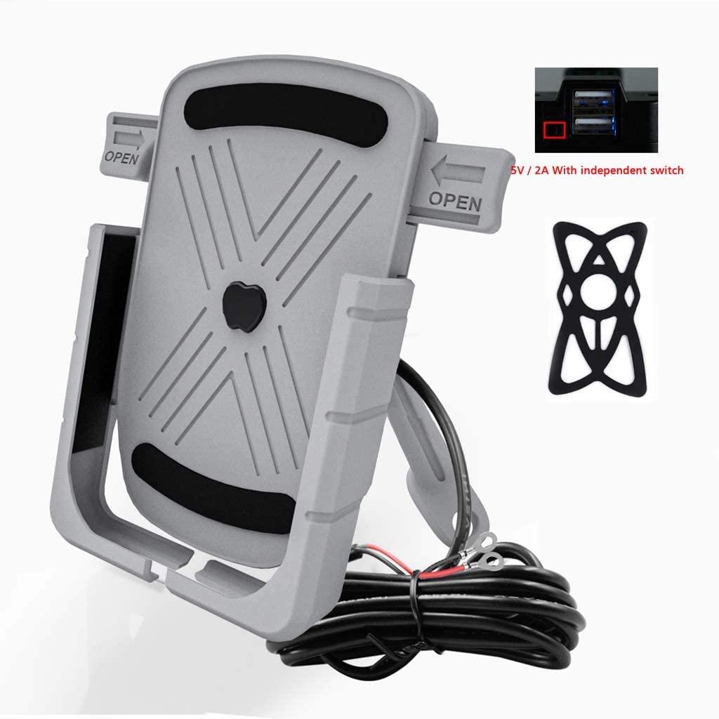 chefensty 1Set Bike Handlebar Rear Mirror Phone Holder Aluminum GPS Navigation USB Charger Mount Stand Bracket for 4.7-6.5
