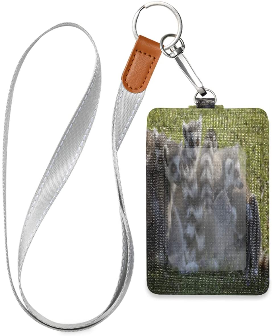 Id Badge Holder with Lanyard Cute Animal Lemures Family Leather Vertical Id Badge Card Holder with 1 Clear Id Window for Women Men Kids, 2 Credit Card Holder Slots and 1 Detachable Neck Lanyard