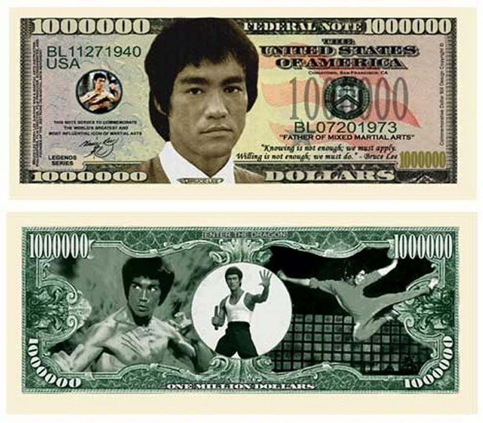 "Bruce Lee Million Dollar Bill with Bonus ""Thanks a Million"" Gift Card Set and Clear Protector"