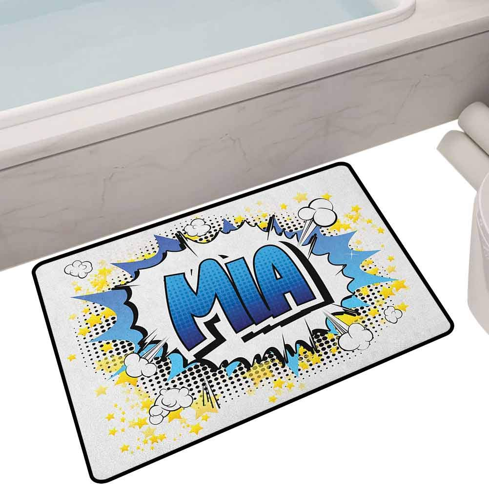 Home Decoration Door Mat Widespread Feminine Name in The United States with Comic Book Style Graphic Elements,35