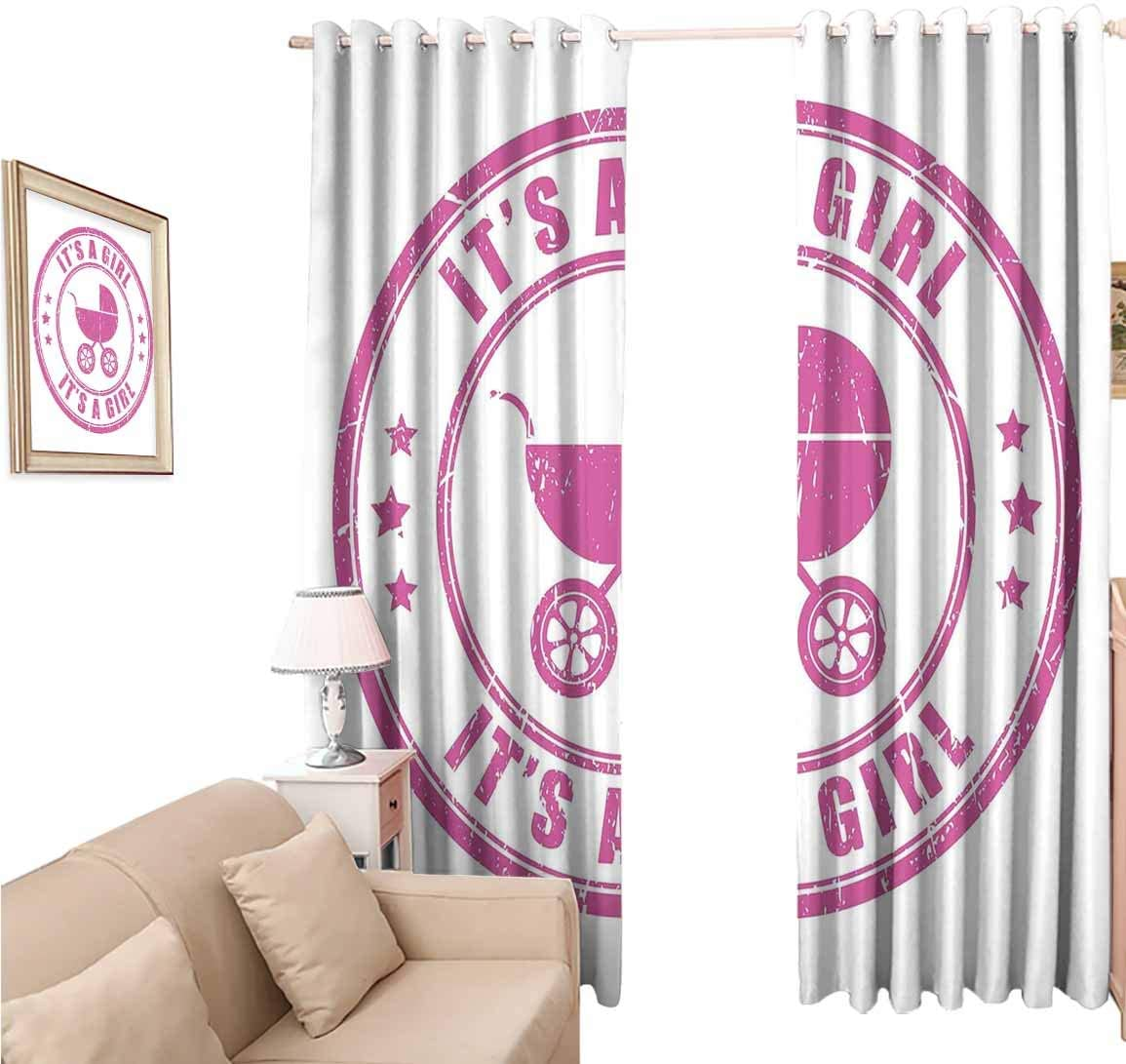 oobon Window Blackout Curtains Fabric, Gender Revealations Grunge Its A Girl Stamp Baby Carriage Artistic Newborn Icon, 108 Inches Long for Nursery Room, 96x108 inch