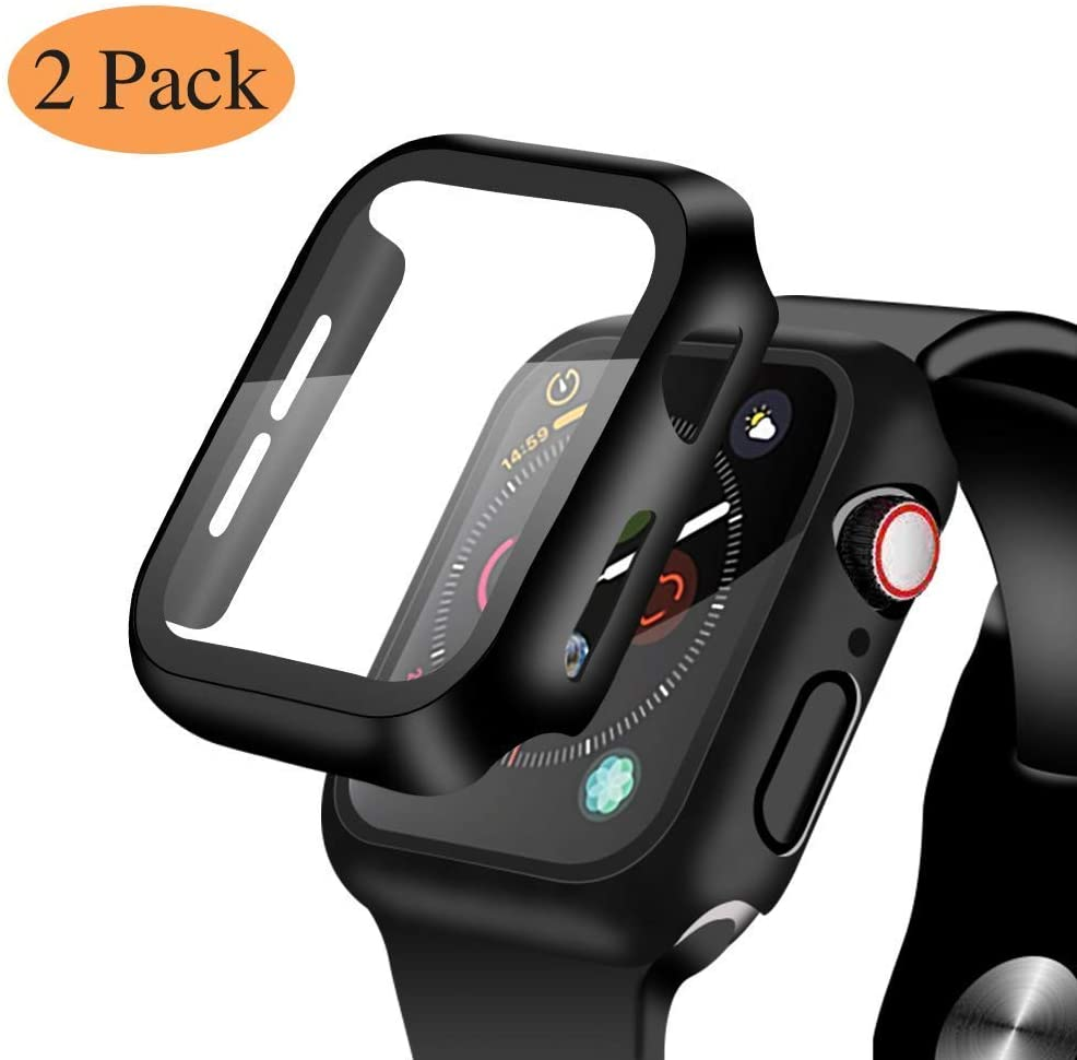 [2 Pack] Compatible for Apple Watch 44mm Series 5 Series 4 Tempered Glass Screen Protector with Black Bumper Case, YMHML Full Coverage Easy Installation Bubble-Free Cover for iWatch Accessories
