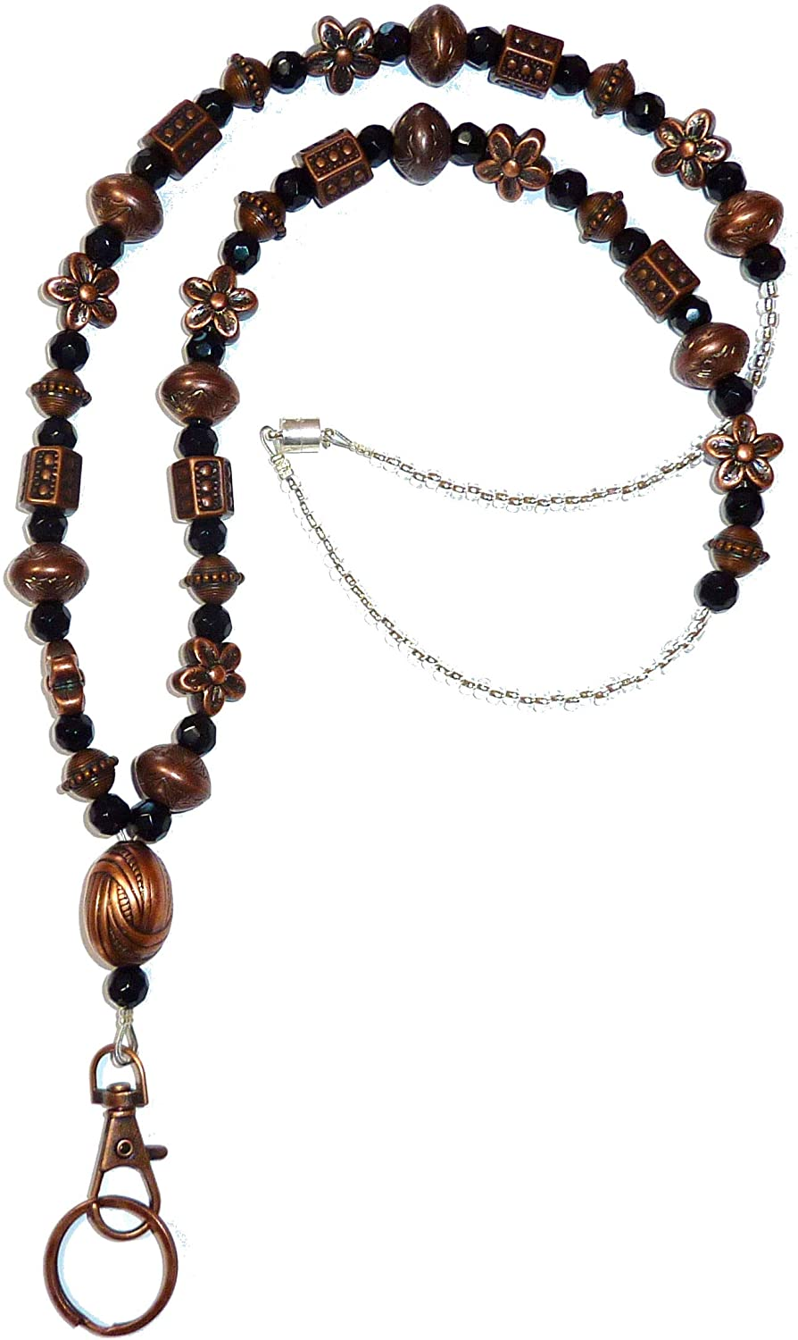 Hidden Hollow Beads Bronze Beauty Womens Fashion Necklace Jewelry Lanyard, 34 Inches for ID Badge Holder, Keys (Bronze & Black Beads - Magnetic Breakaway)
